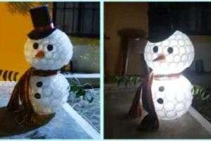 Поделка на новый год снеговик из пластиковых