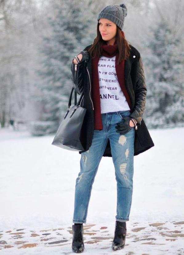 0dae6f27465 С чем зимой носить джинсы бойфренды  — журнал
