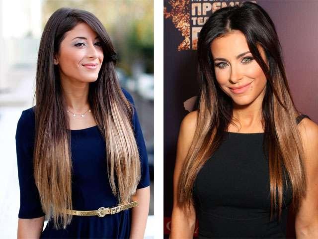 Окрашивание балаяж прямых волос