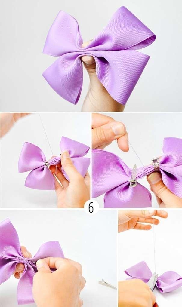 Как сделать бантик из ленты своими руками с вилкой
