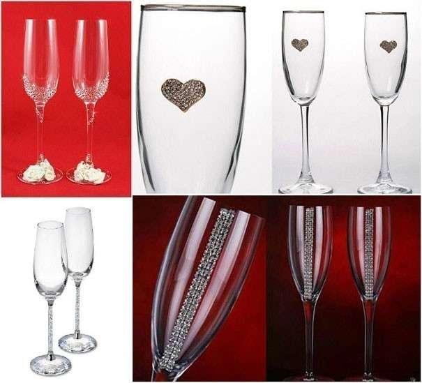 Как стразами украсить бокалы на свадьбу своими руками фото пошагово 11