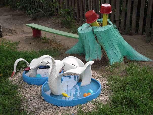 Как своими руками украсить участок в детском саду