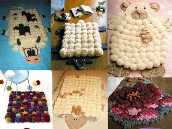 Идеи для ковриков из помпонов. Фото с сайта www.liveinternet.ru