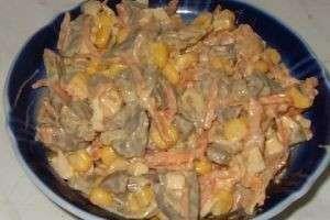 Готовим салат из куриных сердечек
