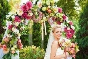 Оформление свадебной арки цветами, тканью, лентами, шарами