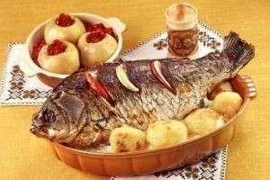 Рыба, запеченная в духовке с картошкой (скумбрия, карп, треска, горбуша)