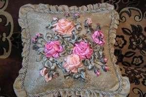 Вышивка лентами подушки: пошаговое выполнение, материалы