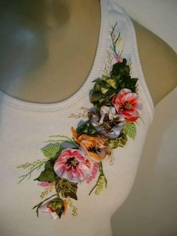 Вышивка лентами на одежде для начинающих