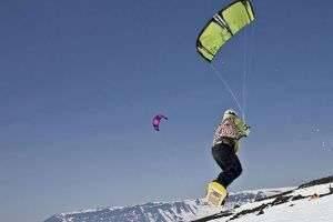 Зимний кайтинг: обучение, видео и выбор сноуборда