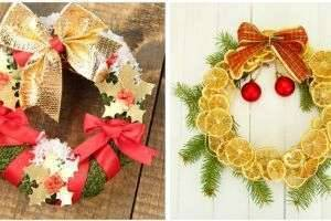 Как сделать новогодний венок на дверь своими руками: воплощение праздничных идей