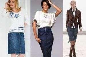 Что носить с джинсовыми юбками разной длины