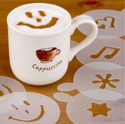 Как сделать рисунок на кофе с помощью трафарета?