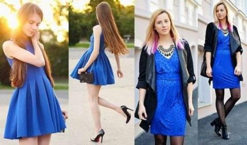 С чем можно носить синее платье?