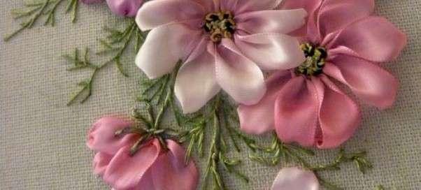 Вышивка лентами – уроки для начинающих: узлы, швы, стежки